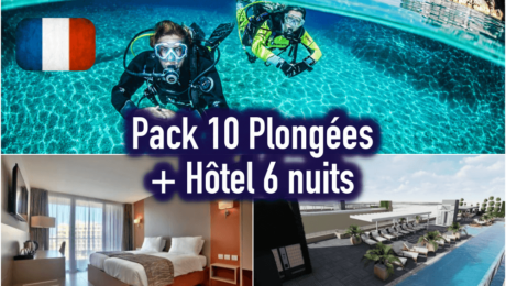 10 plongées + Hôtel 6 nuits (à partir de 2 personnes)